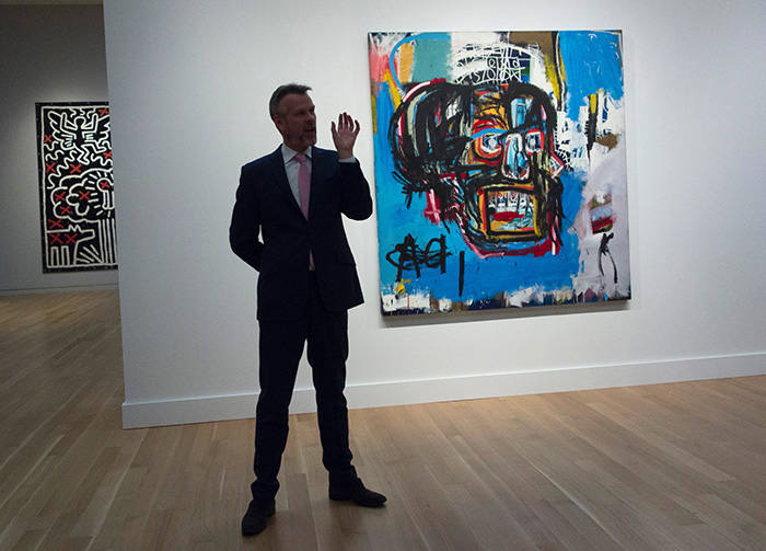 Jean-Michel Basquiat's 'Untitled' (1982) at Sotheby's New York before its sale for $110m in 2017