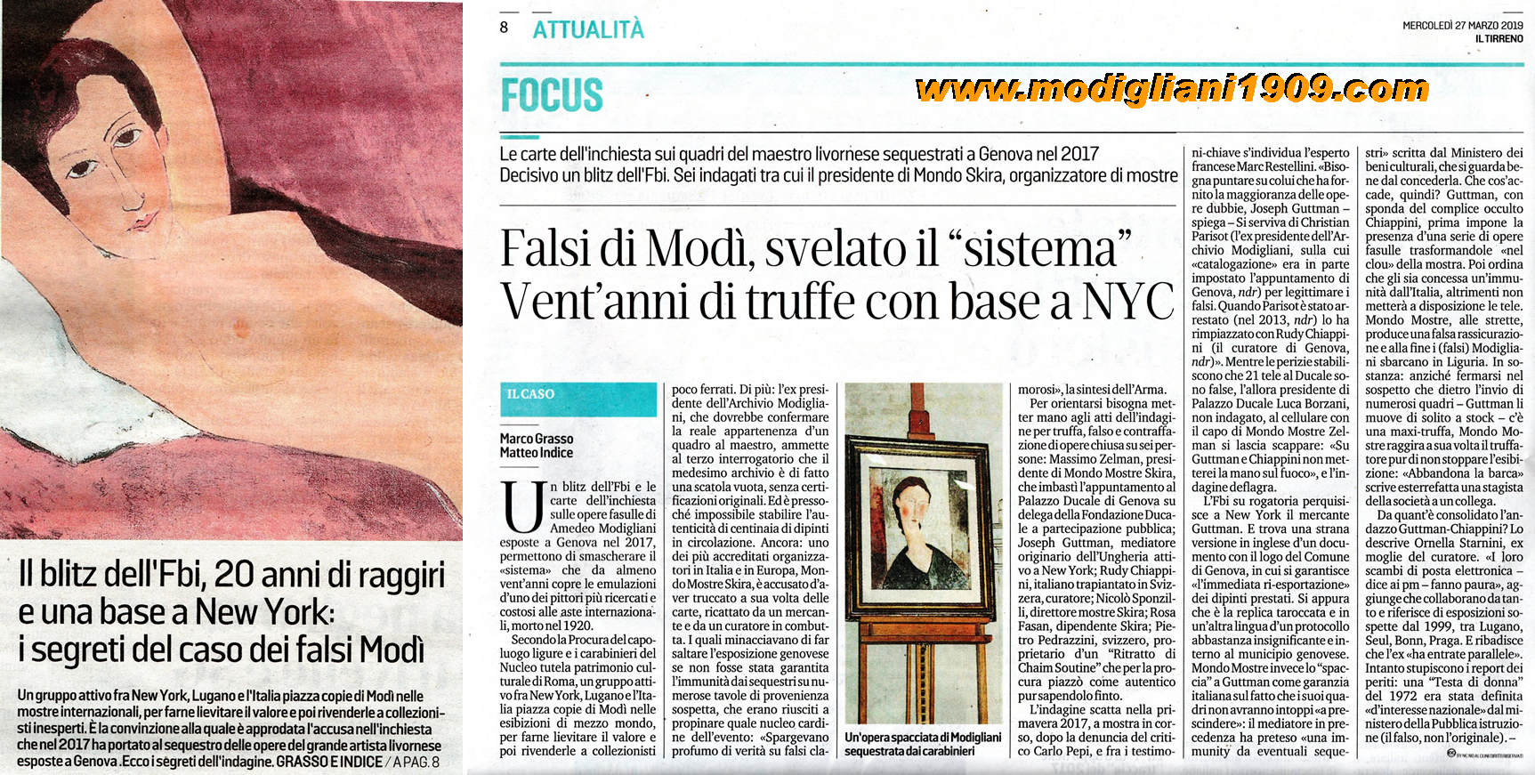 Modigliani art exhibited at Ducal Palace in Genoa revealed to be